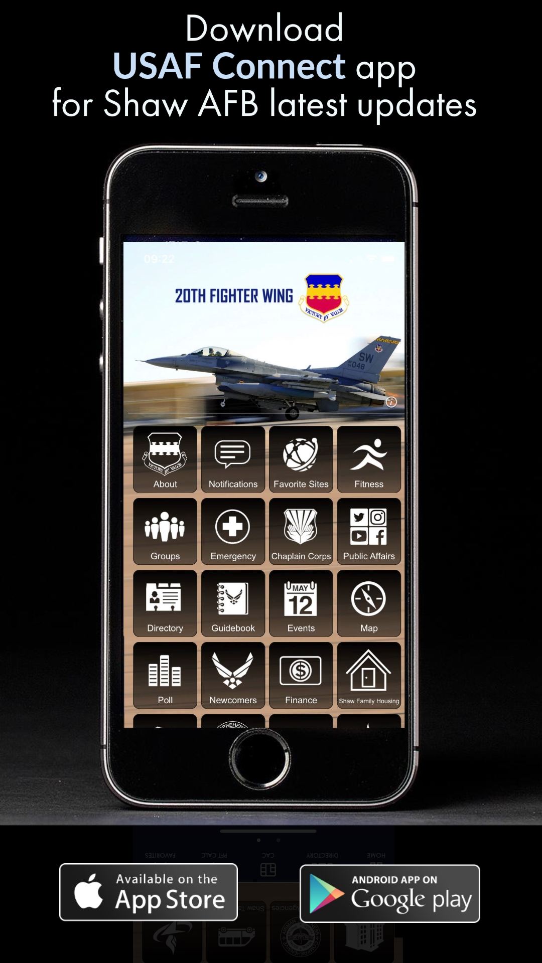 Image of cellphone displaying Shaw Air Force Base App