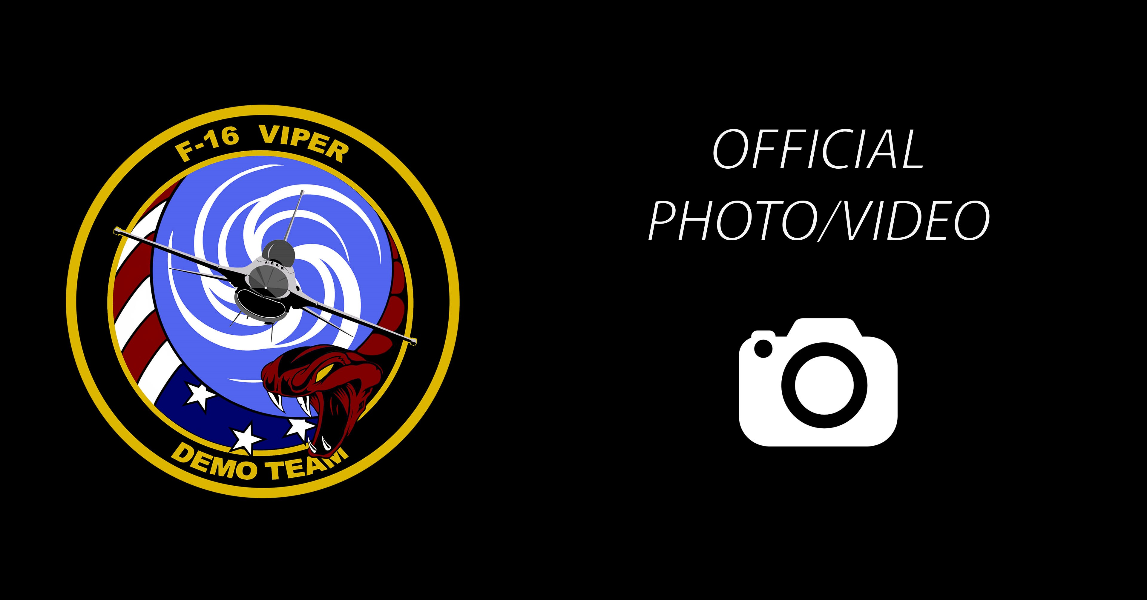 a graphic of the viper demo team logo, and a link to the official photo/video dvids page